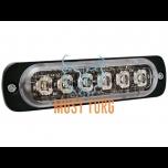 Pindvilkur-LED õhuke 9mm 12-24V, kollane, 23 vilkumisrežiimi, ECE R65, IPX8