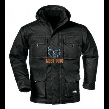 Talvejope eemaldatavate käiste ja kapuutsiga, must, suurus XL
