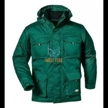 Talvejope eemaldatavate käiste ja kapuutsiga roheline suurus XL