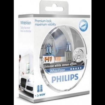 Autopirn H1 WhiteVision pakendis 2+2 W5W Philips