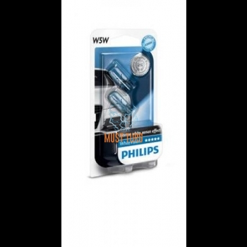 Car bulb 5W WhiteVision without base in pack of 2 Philips