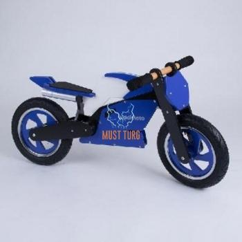 Jooksuratas puidust, Kiddimoto Superbike, sinine/valge