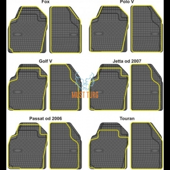 Kummimatid margikohased lõigatavad VW Polo, Golf V, Jetta 2007, Passat 2006/ Touran, 4tk