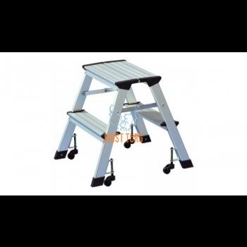 Folding aluminum ladder on wheels