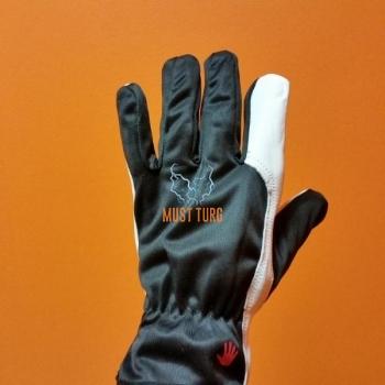 Work gloves black / white nylon / goatskin no.10 12 pairs