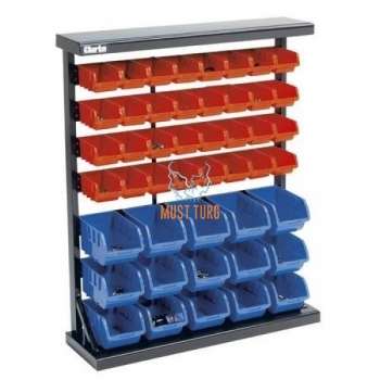 Stand with shelves in metal frame 47 boxes