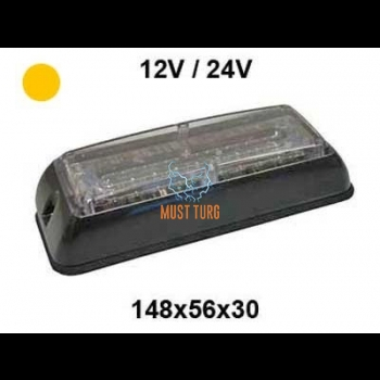 Pindvilkur-LED 12-24V, kollane, 19 vilkumisrežiimi, IP67, EMC-vastavus -484