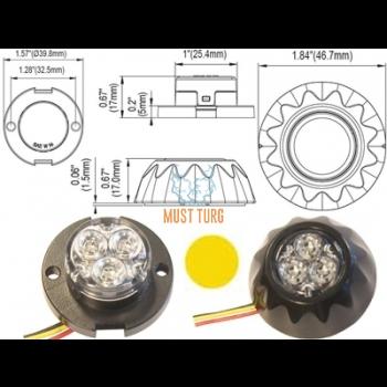 Nööp vilkur-LED 12-24V, kollane, 12 vilkumisrežiimi