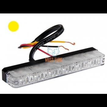 Surface flasher thin profile 16mm 12-24V yellow 12 flashing modes ECE R65 / R10