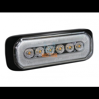 Pindvilkur- märgutuli LED kollane/valge 12-24V, 14 vilkumisrežiimi, ECE R65/R10, IPX8