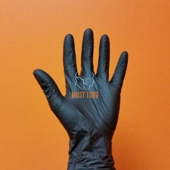 Nitriilkindad Super Strech puudrivaba must suurus XL 100tk