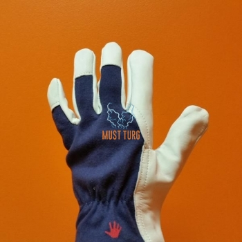 Work gloves blue / white cotton / goatskin no.7 12 pairs