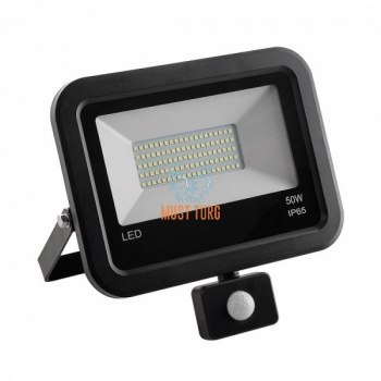 Led floodlight with motion sensor black 50W 4000lm 4000K