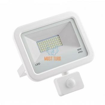 LED prožektor liikumisanduriga valge 30W, 2400lm, 4000K