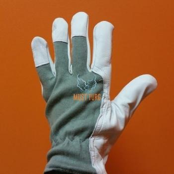 Working glove gray / white goatskin No.8
