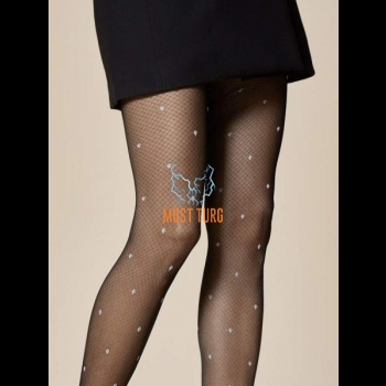 Fiore patterned Tights 20den black-white speckled with Spot