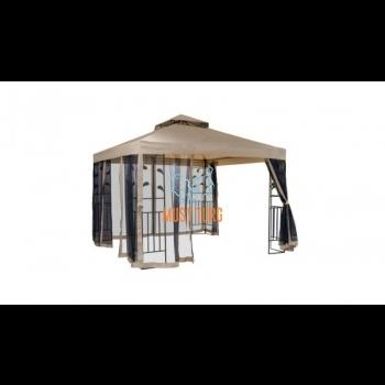 Garden tent with steel frame 300x300cm color beige brown