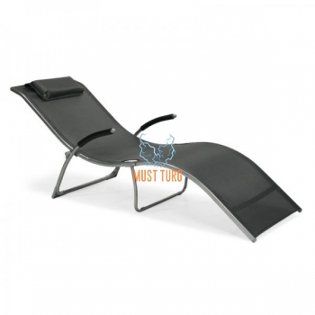 Deck chair with steel frame folding 173x63x65cm