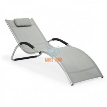 Reclining chair with aluminum frame 177x65x73cm light gray
