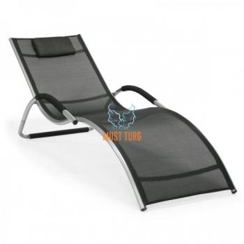 Reclining chair with aluminum frame 177x65x73cm black
