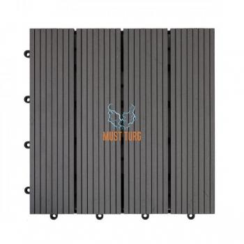 Terrassiplaat 30x30x2,2cm kunstpuidust värvus: hall