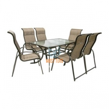 Garden furniture set MONTREAL table and 6-chair color: brown