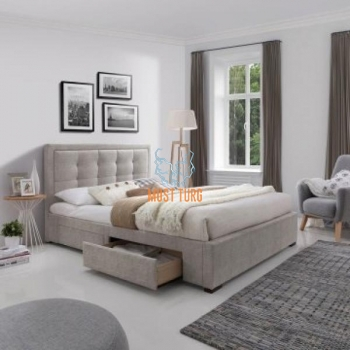 Bed with Duke 4 drawer 160x200cm gray without mattress