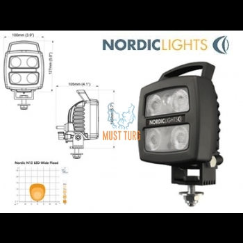 Work light Led 12-24V 17W ADC certified with EMC certification. Nordic Lights
