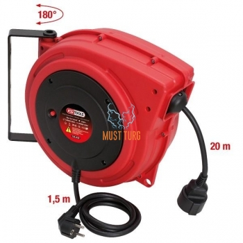 Extension cord on the wall with automatic rewinding 20m 3x1,5mm KS Tools