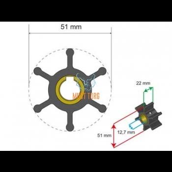 Premium Impeller Kit 51x12.7x22mm 55g Jabsco JMP Yanmar