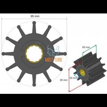 Premium Impeller Kit 95x25x63mm 474g Jabsco JMP Johnson Pump for Volvo Penta