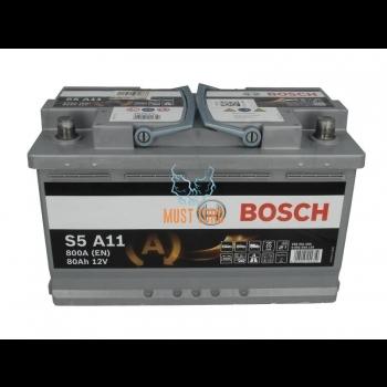 Car battery 80Ah 800A 315X175X190mm - / + AGM Bosch 0092S5A110