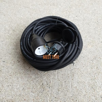 Extension cable rubber 20m 3G1,5mm² 16A IP44 black