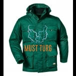 Winter jacket with removable sleeves and hood green size XL