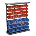 Riiulikarpidega stend metall raamil 47 karpi