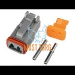Plug Deutsch 2-pin female for cable 0.5-1.5mm² DT series