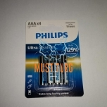 Patareid AAA PHILIPS Ultra Alkaline, 129% more power, 4tk, 1,5V