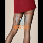 Patterned tights 20den black Fiore Sorpresa