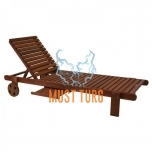 Wooden lounger with tray 196x61x80cm