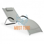 Reclining chair with aluminum frame 177x65x73cm light gray
