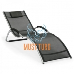 Reclining chair with aluminum frame 177x65x73cm black