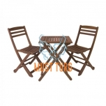 Set of table and 2 chairs of wood