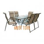 Aiamööbli komplekt Montreal laud ja 6-tooli värvus: pruun