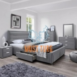 Bed with Caren 4 drawer 160x200cm gray without mattress