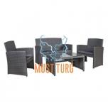 Aiamööbli komplekt Fairlop laud, diivan ja 2 tooli värvus hall