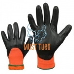 Thermal lined nylon gloves coated with foam nitrile no.9 6pairs