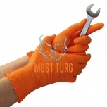Nitrile gloves with structured palm powder-free orange size L 50pcs