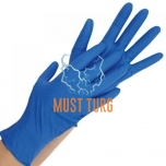 Nitrile gloves thicker powder-free blue size L 100pcs